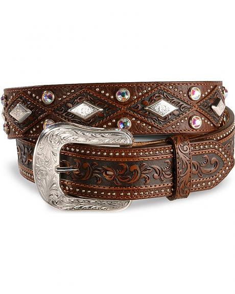 Tony Lama Rhinestone & Concho Bison Leather Belt - Reg & Big