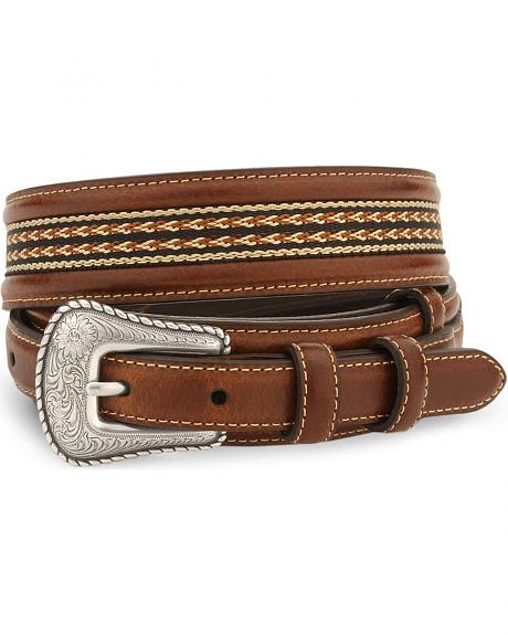 Nocona Ribbon Inlay Leather Ranger Belt - Reg & Big