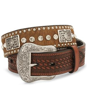 Nocona Crystal Studded Hair-On-Hide Leather Belt - Reg & Big