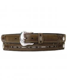 Nocona Ribbon Inlay Leather Belt - Reg & Big