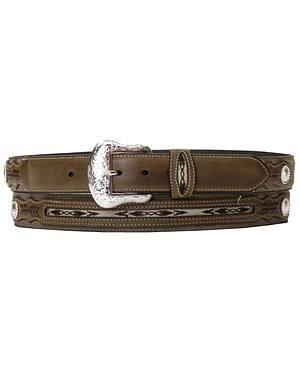 Nocona Ribbon Inlay Leather Belt - Reg & Big