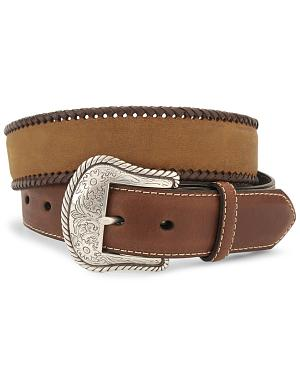 Nocona Concho Braided Edge Leather Belt - Reg & Big