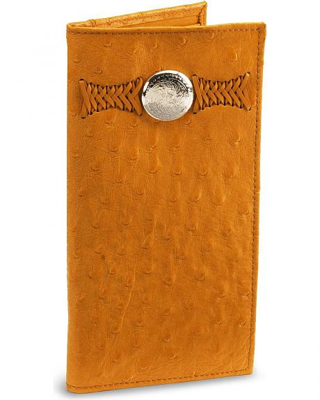 Wrangler Ostrich Print Leather Checkbook Wallet