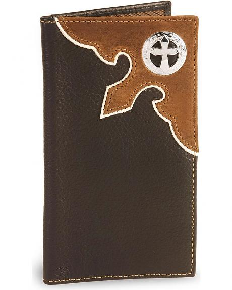 Nocona Cross Concho Leather Checkbook Wallet