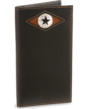 Nocona Star Concho Leather Checkbook Wallet