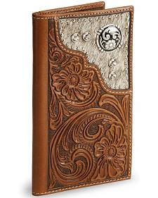 Nocona Hair on Hide Inset Tooled Leather Checkbook Wallet