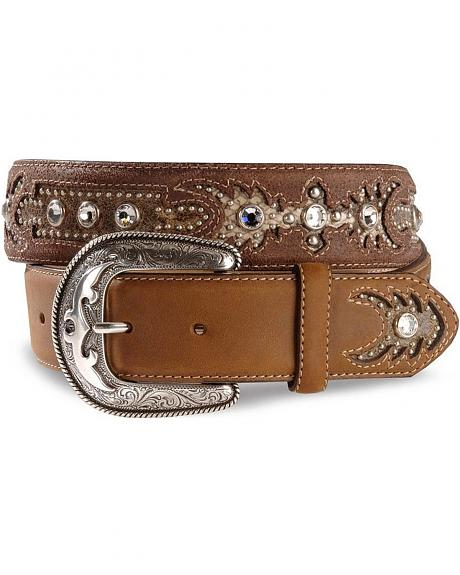 Sonora Rhinestone Leather Western Belt - Reg & Big