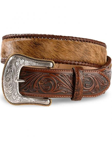 Justin Brindle Hair On Hide Laced Western Belt - Reg & Big