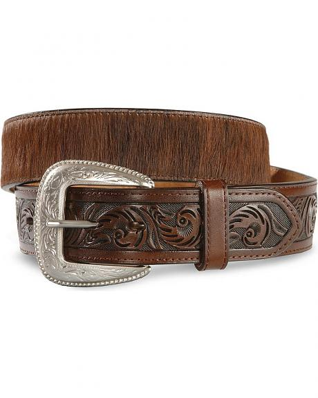 Hair-on Tooled Leather Belt