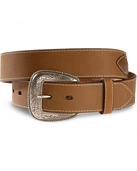 Ostrich Print Concho Leather Belt - Reg & Big