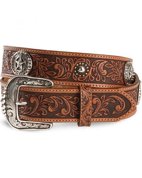 Tony Lama Fort Worth Floral Leather Belt - Reg & Big