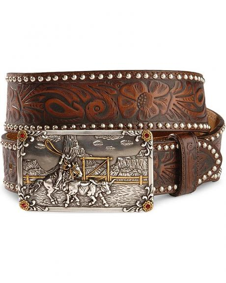 Tony Lama Roping Steer Buckle Leather Belt
