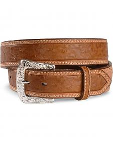 Exclusive Gibson Trading Co. Peanut Brittle Ostrich Print Leather Belt