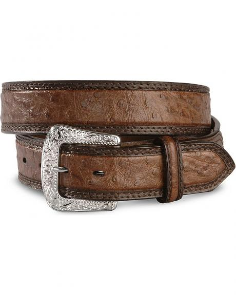 Exclusive Gibson Trading Co. Brown Ostrich Print Leather Belt
