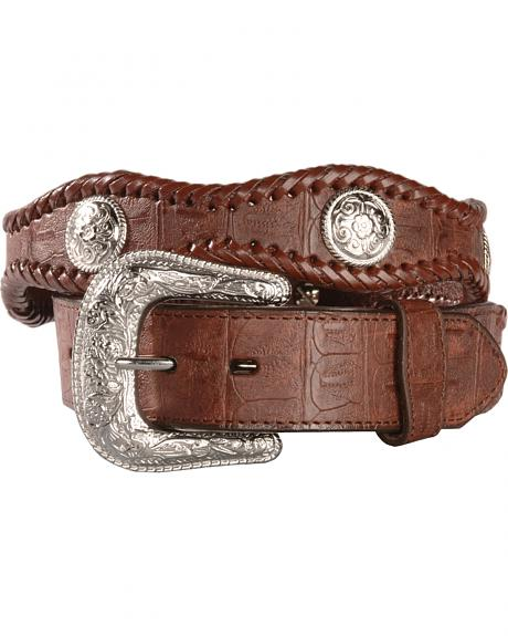 Exclusive Gibson Trading Co. Brown Scalloped Crocodile Print Leather Belt