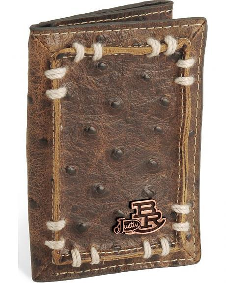 Justin Bent Rail Ostrich Print Tri-Fold Leather Wallet