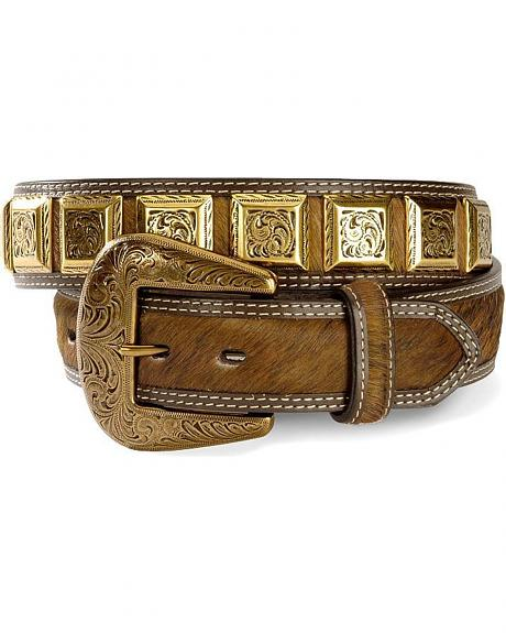 Hair On Hide Gold-Tone Concho Leather Belt