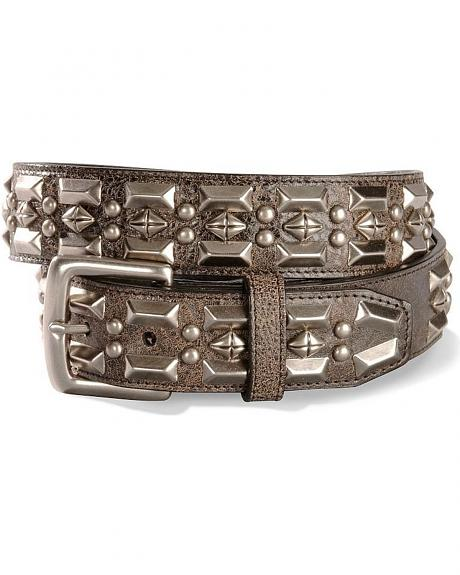 Silver-Tone Concho Distressed Leather Belt