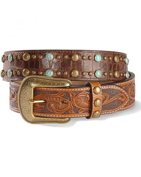 Croc Print & Tooled Leather Belt