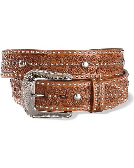 Embossed Leather Western Belt