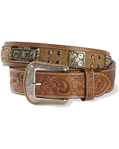Embossed Hair-On-Hide Leather Belt