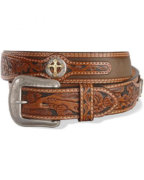 Cross Concho Embossed Leather Belt