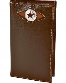 Nocona Leather Inlay Star Concho Checkbook Wallet