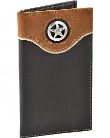 Nocona Star Concho Black Leather Checkbook Wallet