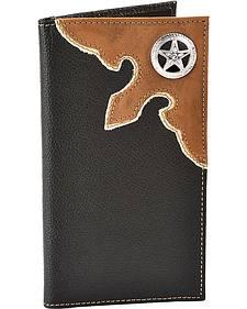 Nocona Star Concho Black Leather Checkbook Wallet