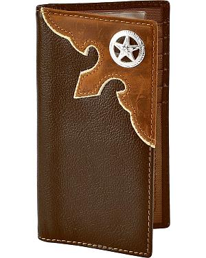 Nocona Leather Overlay Star Concho Wallet Checkbook