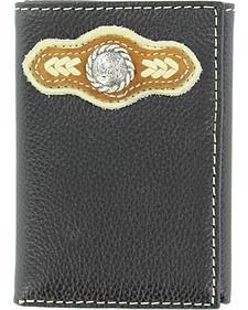 Nocona Concho Tri-Fold Black Leather Wallet