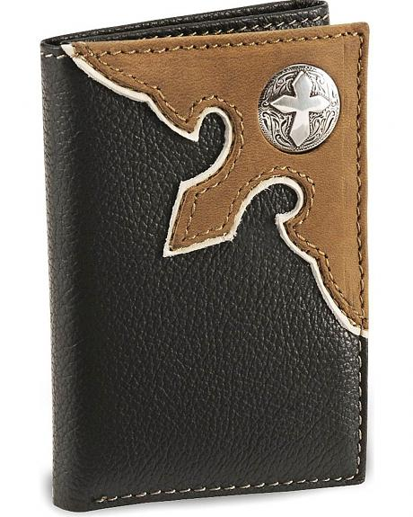Nocona Black Cross Concho Tri-Fold Leather Wallet