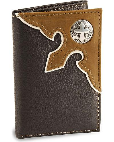 Nocona Brown Cross Concho Tri-Fold Leather Wallet Western & Country N5419402