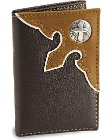 Nocona Brown Cross Concho Tri-Fold Leather Wallet
