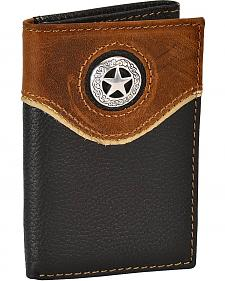 Nocona Leather Overlay Star Concho Tri-Fold Wallet