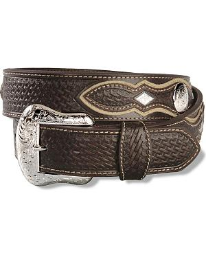 Nocona Embossed Basketweave Leather Belt