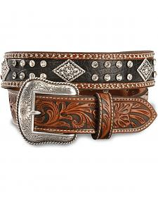 Nocona Black & Tan Bling Western Belt