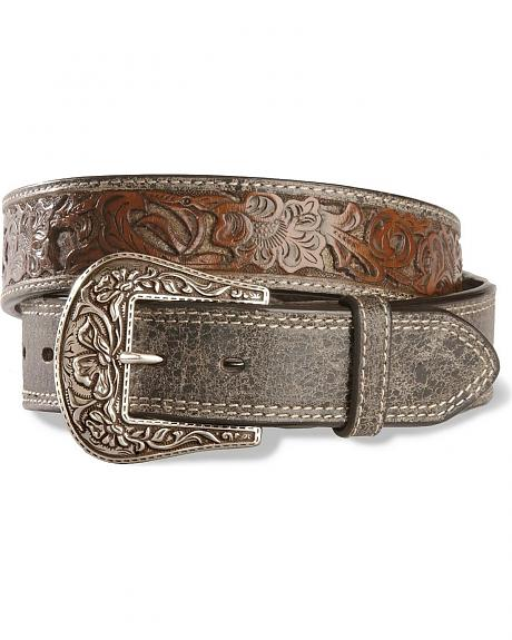 Stetson Cutout Hand Tooled Leather Belt