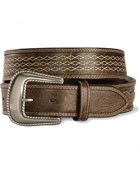 Stetson Hand-Burnished Contrast Stitched Leather Belt