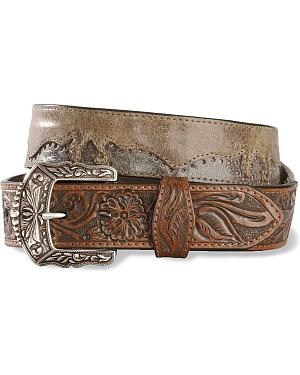 Stetson Hand-Burnished Tooled Leather Belt