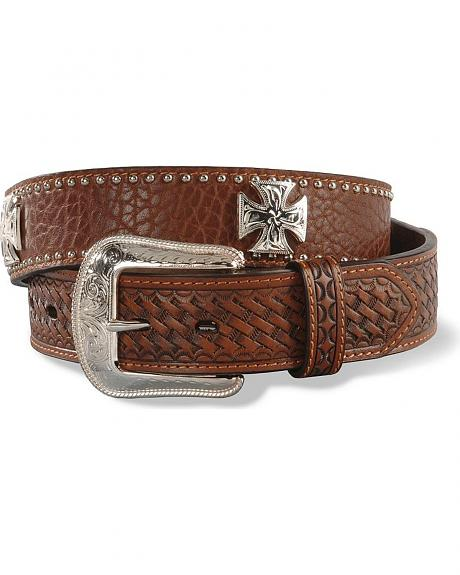 Cross Concho & Basketweave Shoulder Leather Belt