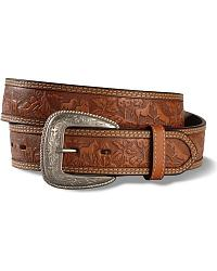 Embossed Horse Scene Leather Belt at Sheplers