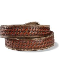 Basketweave Stamped Leather Belt at Sheplers