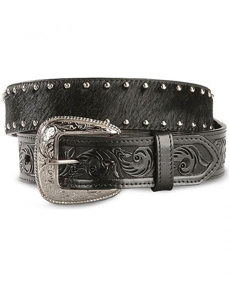 Hair On Hide Embossed Leather Western Belt