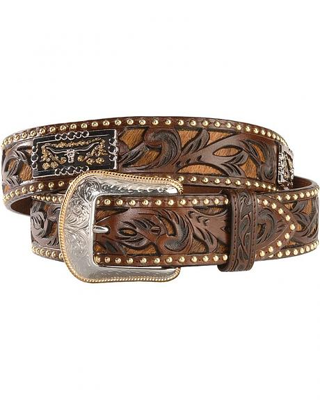 Tooled Leather Longhorn Concho Belt