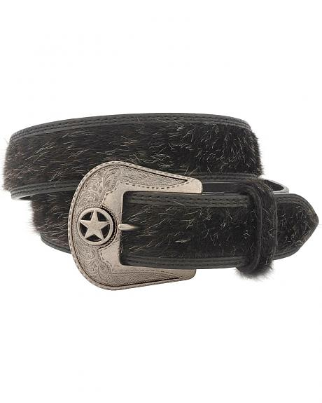 Black Faux Hair-on Hide Western Belt