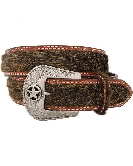 Brown Faux Hair-On Hide Western Belt
