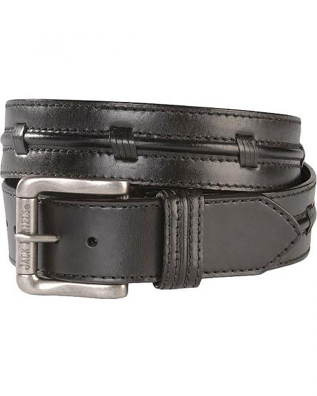 Jack Daniel's Center Embellished Black Leather Belt