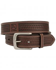 John Deere Basketweave Leather Belt