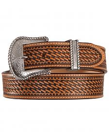 Justin Bronco Basketweave Leather Belt